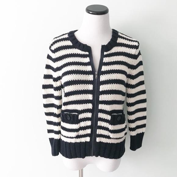5b723b5003 LOFT Sweaters - LOFT Navy blue white striped thick zip up Sweater